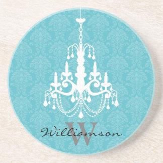 Classy Damask Chandelier Monogram Coaster (aqua)