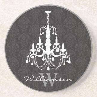 Classy Damask Chandelier Monogram Coaster (black)