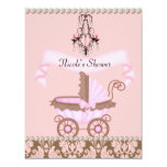 "Classy DAMASK GIRL BABY Shower INVITATIONS 4.25"" X 5.5"" Invitation Card"