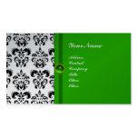 CLASSY DAMASK MONOGRAM green emerald platinum Business Card Templates