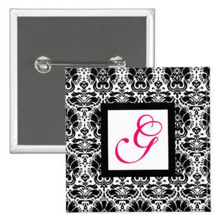 CLASSY DAMASK MONOGRAM,pink fuchsia Pinback Button