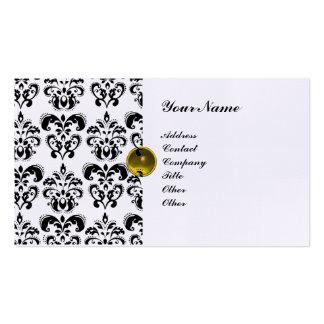 CLASSY DAMASK MONOGRAM purple black white linen Business Card