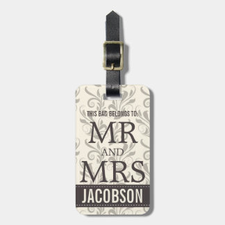Classy Damask Mr and Mrs Personalized Bag Tag