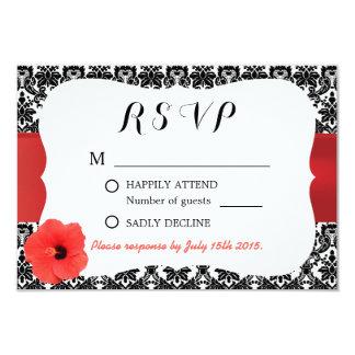 Classy Damask Red Hibiscus Wedding RSVP Invites