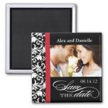 Classy Damask Save the Date with Red Accent 2 Inch Square Magnet