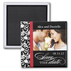 Classy Damask Save The Date With Red Accent Magnet at Zazzle