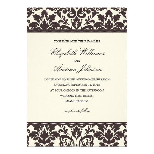 CLASSY DAMASK   WEDDING INVITATION