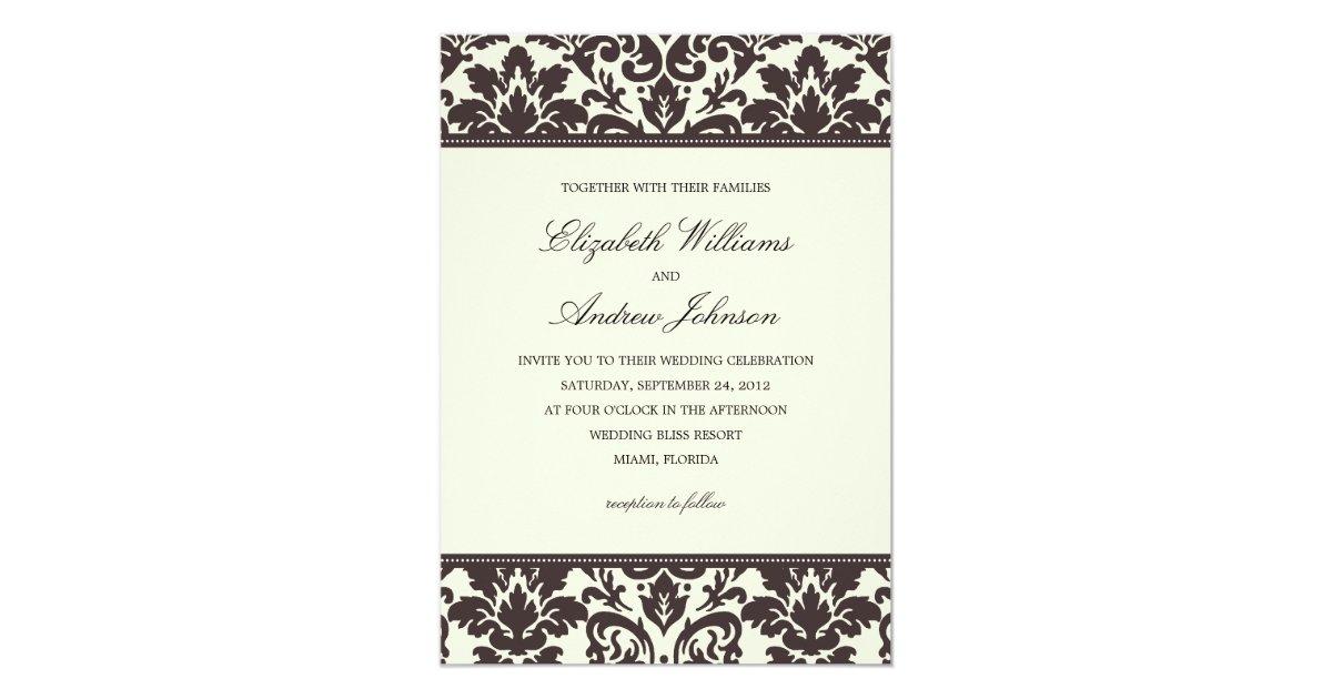 classy damask wedding invitation zazzle