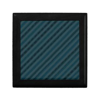 Classy Dark Aqua & Navy Blue Gift Box - Stripes