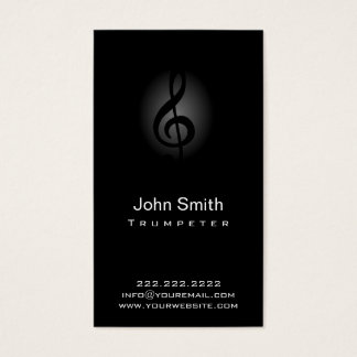 Classy Dark Clef Trumpeter Business Card