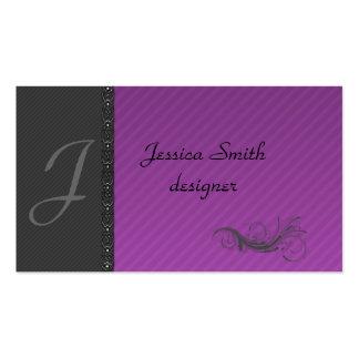 Classy dark gray discrete stripes stylish lase business card template