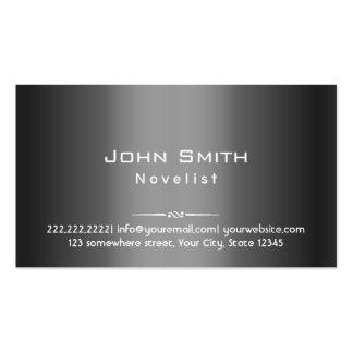 Classy Dark Grey Metal Novelist Business Card