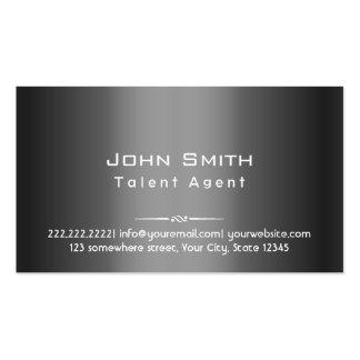 Classy Dark Grey Metal Talent Agent Business Card