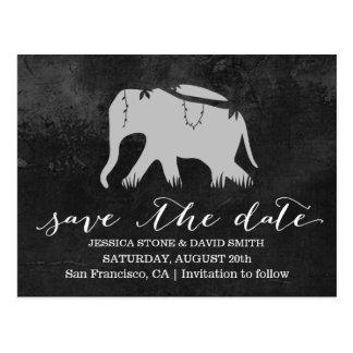 Classy Dark Jungle Elephant Wedding Save the Date Postcard
