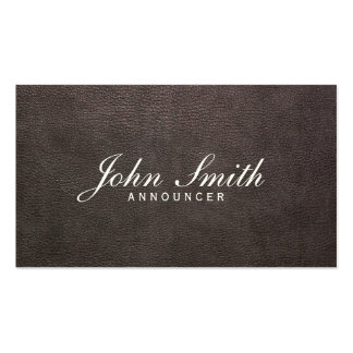 Classy Dark Leather Announcer Business Card