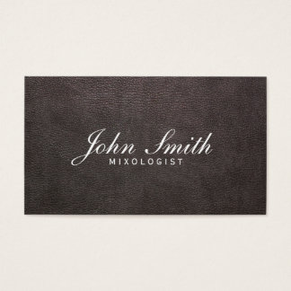 Classy Dark Leather Mixologist Business Card