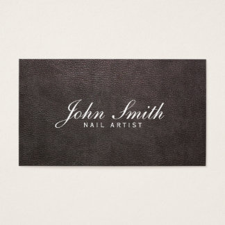 Classy Dark Leather Nail Art Business Card