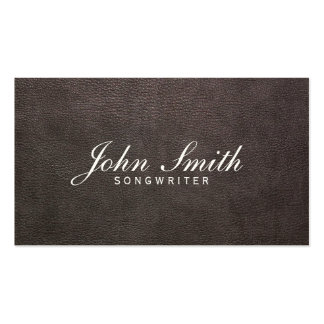Classy Dark Leather Songwriter Business Card