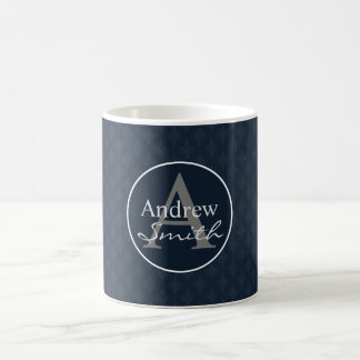 Classy Dark Navy Blue Custom Monogram Coffee Mug