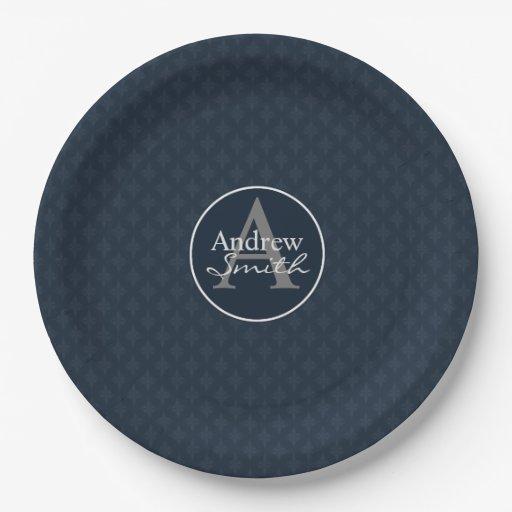 classy dark navy blue custom monogram paper plate zazzle. Black Bedroom Furniture Sets. Home Design Ideas