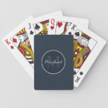 "Classy Dark Navy Blue Custom Monogram Playing Cards<br><div class=""desc"">This custom monogrammed playing cards is composed of a stylish original navy blue design and is perfect for any guy. Whether for work or play a custom playing cards is a classy and meaningful gift and will be cherished and enjoyed. This design was inspired by the ""Flower of Life"" geometric...</div>"