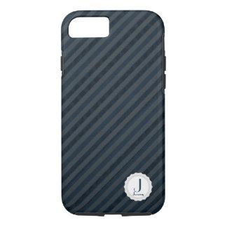 Classy Dark Navy & Blue Gray Personalized Monogram iPhone 8/7 Case