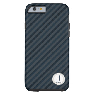 Classy Dark Navy & Blue Gray Personalized Monogram Tough iPhone 6 Case