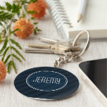 Classy Dark Navy Custom Monogram Version 2.0 Basic Round Button Keychain