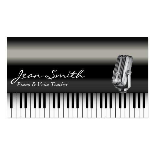 Classy Dark Piano & Voice Teacher Business Card