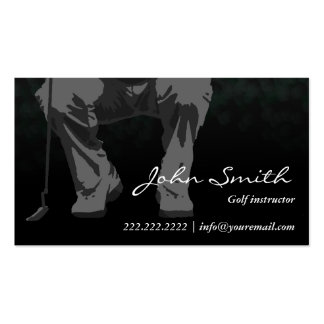 Classy Dark Putt Golf Instruction Business Card
