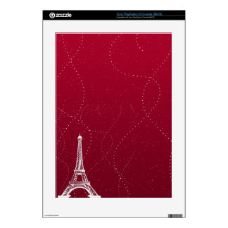 Classy Dark Red with Eiffel Tower Decal For PS3 Console