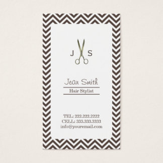 Classy Dark Tan Chevron Stripes Hair Stylist Business Card
