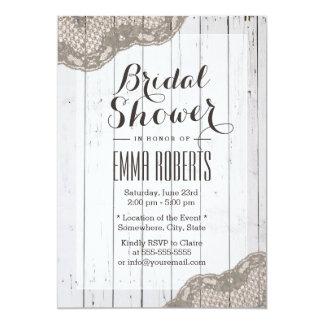 Classy Dark Tan Lace Wood Stripes Bridal Shower Card