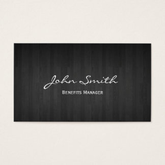 Classy Dark Wood Benefits Manager Business Card