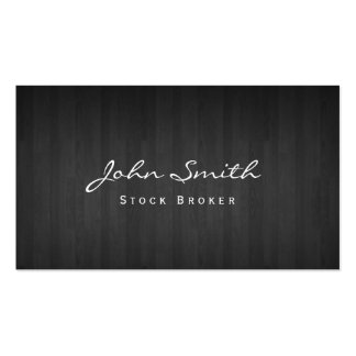 Classy Dark Wood Stock Broker Business Card