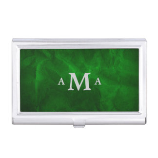 Classy Deep Green Silver Monogram Business Card Case