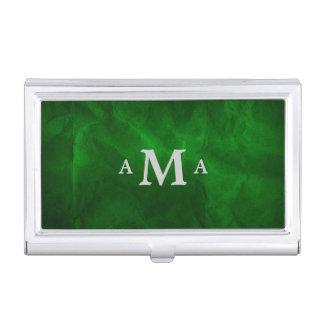 Classy Deep Green Silver Monogram Business Card Case