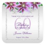 Classy Diamonds & Flowers Birthday Square Sticker