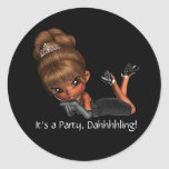 Classy Diva Party Favor Envelope Seal Classic Round Sticker