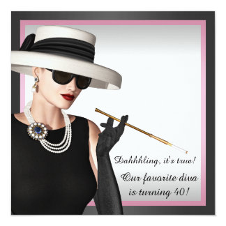 Classy Diva Pink and Black 40th Birthday 5.25x5.25 Square Paper Invitation Card