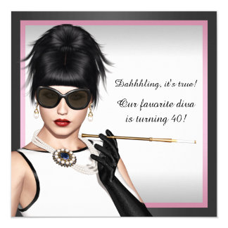 Classy Diva Pink and Black Birthday 5.25x5.25 Square Paper Invitation Card
