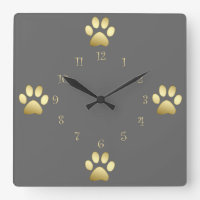 Classy Dog Paws Wall Clocks