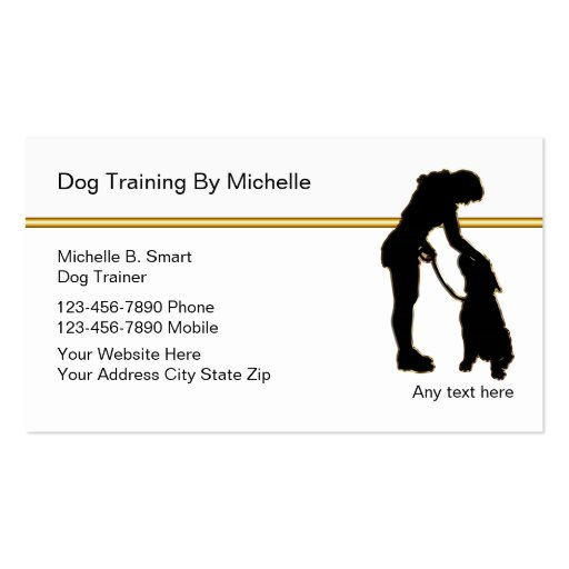 Classy dog trainer business cards zazzle for Dog trainer business card