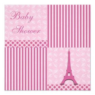 Classy Eiffel Tower Cute Pink Baby Shower Card