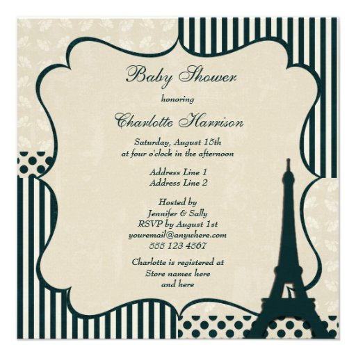Classy Eiffel Tower Neutral Baby Shower Custom Announcements