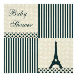 Classy Eiffel Tower Neutral Baby Shower Custom Announcements