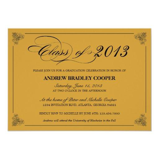 Classy Elegant Black 2013 Graduation Invite