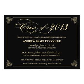 "Classy Elegant Black 2013 Graduation Invite 5"" X 7"" Invitation Card"