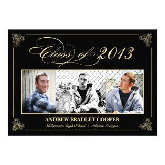 Classy Elegant Black 2013 Graduation Photo Invite