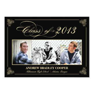 "Classy Elegant Black 2013 Graduation Photo Invite 5"" X 7"" Invitation Card"